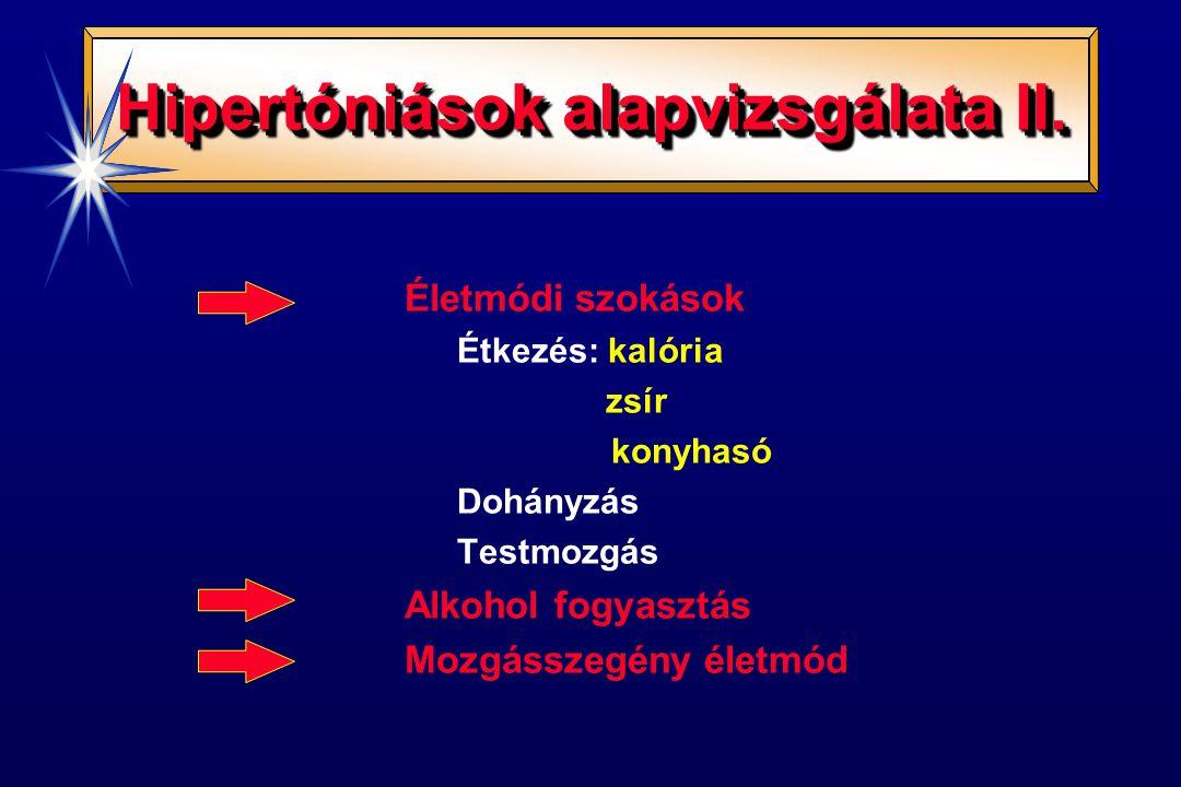 Hipertóniások alapvizsgálata II. Életmódi szokások Étkezés: kalória zsír konyhasó Dohányzás Testmozgás Alkohol fogyasztás Mozgásszegény életmód