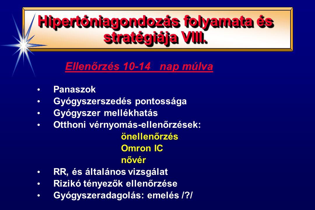 Hipertóniagondozás folyamata és stratégiája VIII. Ellenőrzés 10-14 nap múlva Panaszok Gyógyszerszedés pontossága Gyógyszer mellékhatás Otthoni vérnyom