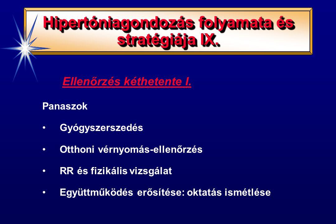 Ellenőrzés kéthetente II.Gyógyszerelés változtatása: - maximális adag nem hatásos: - 2.