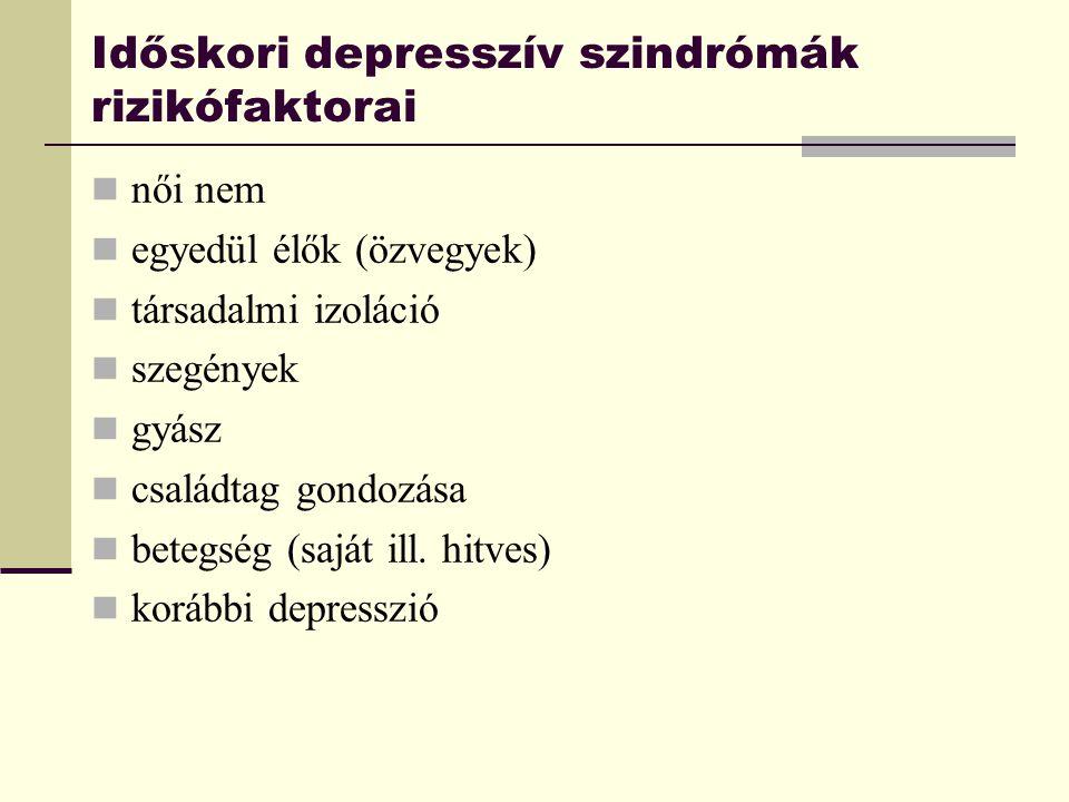 Időskori depresszív szindrómák rizikófaktorai női nem egyedül élők (özvegyek) társadalmi izoláció szegények gyász családtag gondozása betegség (saját