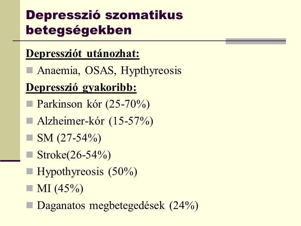 Depresszió szomatikus betegségekben Depressziót utánozhat: Anaemia, OSAS, Hypthyreosis Depresszió gyakoribb: Parkinson kór (25-70%) Alzheimer-kór (15-