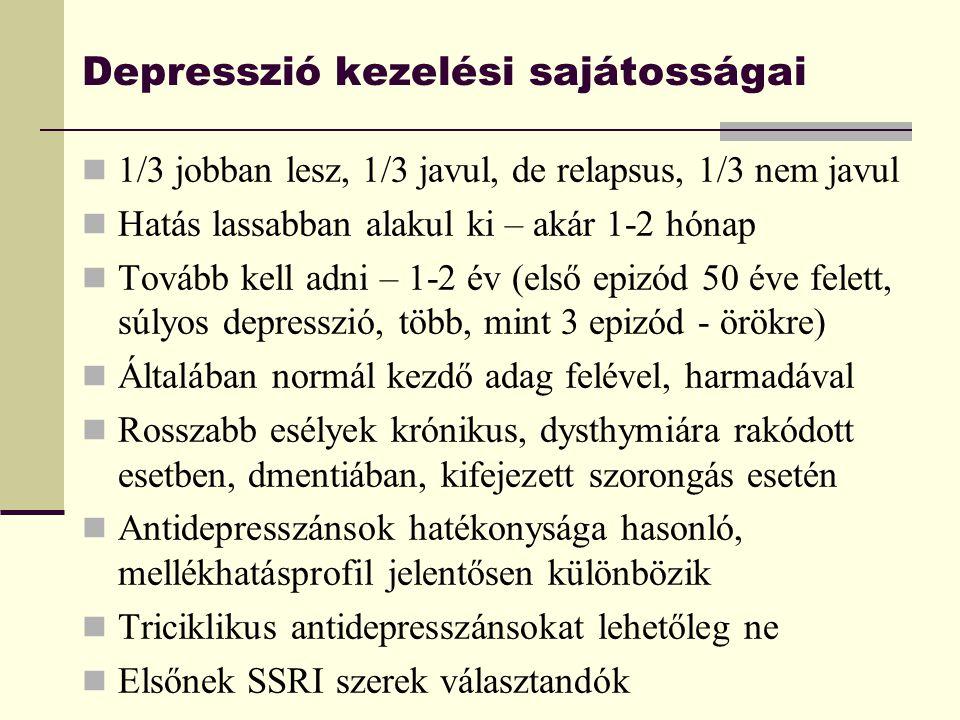 Depresszió kezelési sajátosságai 1/3 jobban lesz, 1/3 javul, de relapsus, 1/3 nem javul Hatás lassabban alakul ki – akár 1-2 hónap Tovább kell adni –