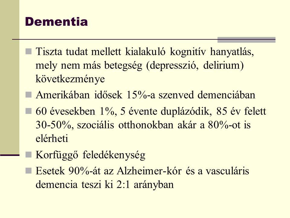 Dementia Tiszta tudat mellett kialakuló kognitív hanyatlás, mely nem más betegség (depresszió, delirium) következménye Amerikában idősek 15%-a szenved
