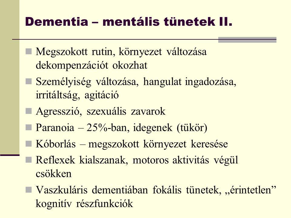 Dementia – mentális tünetek II. Megszokott rutin, környezet változása dekompenzációt okozhat Személyiség változása, hangulat ingadozása, irritáltság,