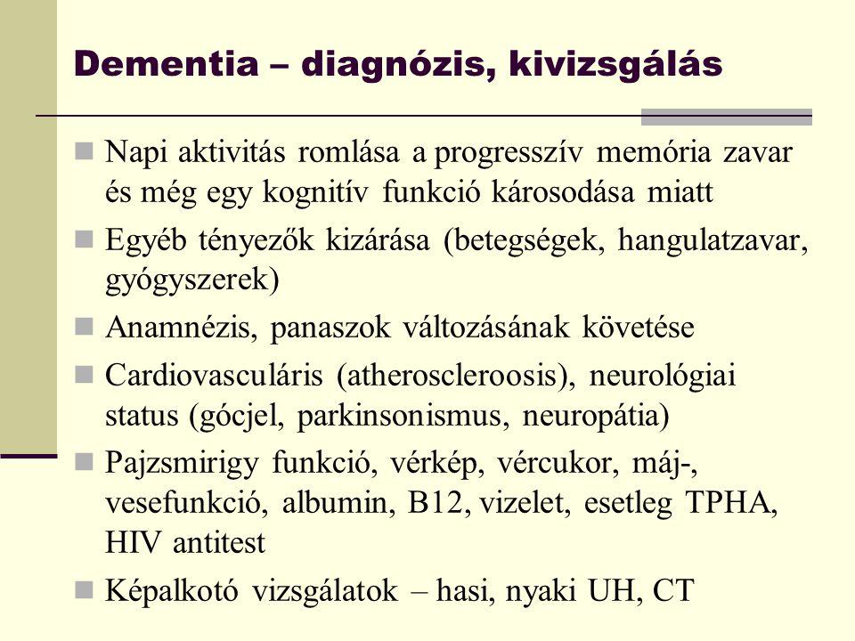 Dementia – diagnózis, kivizsgálás Napi aktivitás romlása a progresszív memória zavar és még egy kognitív funkció károsodása miatt Egyéb tényezők kizár