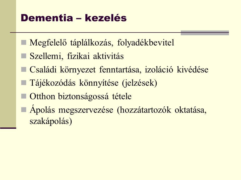 Dementia – kezelés Megfelelő táplálkozás, folyadékbevitel Szellemi, fizikai aktivitás Családi környezet fenntartása, izoláció kivédése Tájékozódás kön