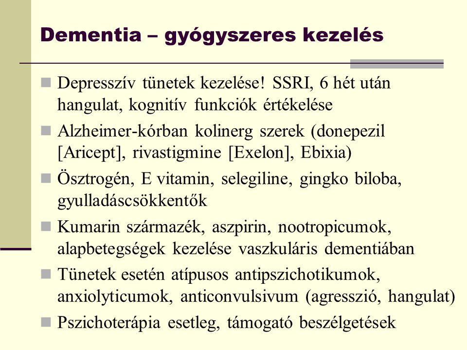 Dementia – gyógyszeres kezelés Depresszív tünetek kezelése! SSRI, 6 hét után hangulat, kognitív funkciók értékelése Alzheimer-kórban kolinerg szerek (
