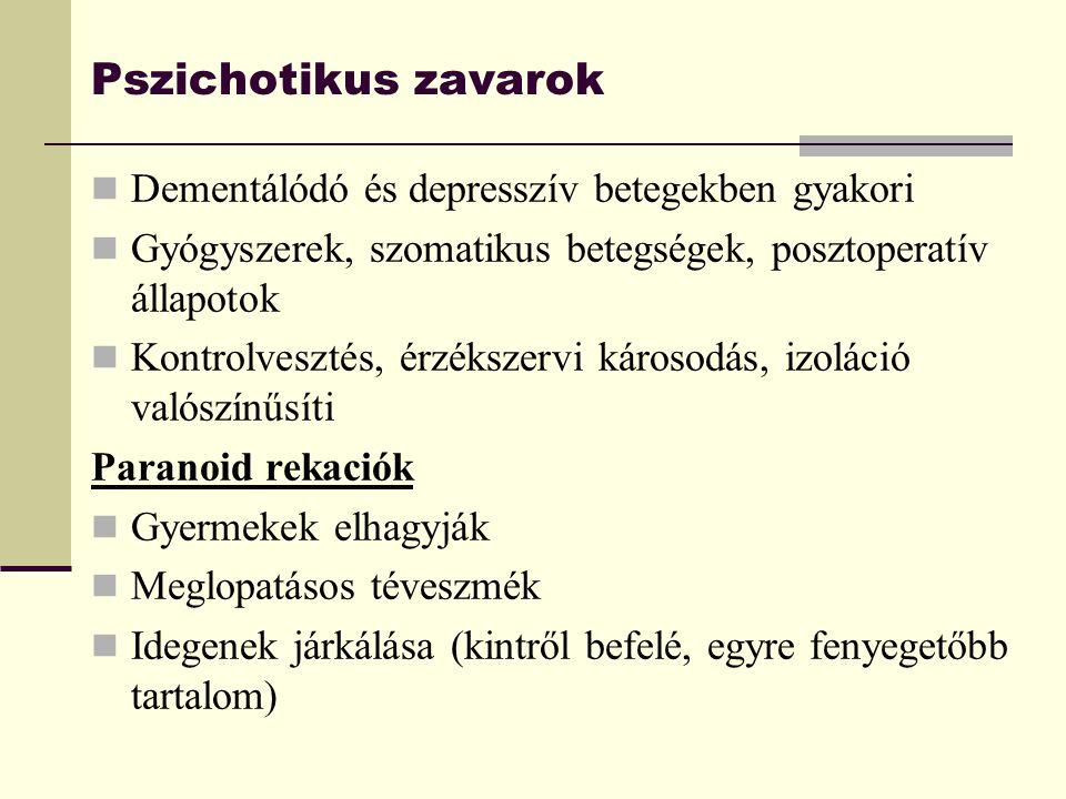 Pszichotikus zavarok Dementálódó és depresszív betegekben gyakori Gyógyszerek, szomatikus betegségek, posztoperatív állapotok Kontrolvesztés, érzéksze