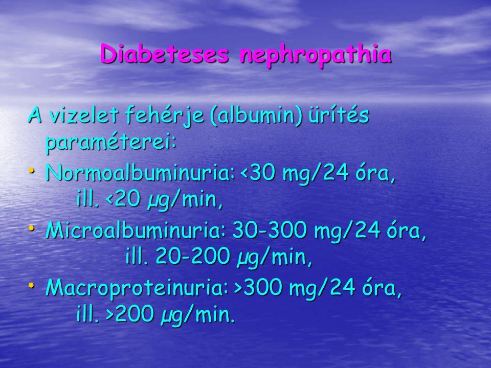DIABETESESEK GONDOZÁSA Laboratóriumi vizsgálatok: vércukor éhomra és postprandialisan vércukor éhomra és postprandialisan serum össz-cholesterin, HDL-cholesterin, triglycerid, creatinin, vizelet cukor, aceton, üledék, kvantitatív albuminürítés (a microalbuminuria időben történő kiszűrése), serum össz-cholesterin, HDL-cholesterin, triglycerid, creatinin, vizelet cukor, aceton, üledék, kvantitatív albuminürítés (a microalbuminuria időben történő kiszűrése), Cél: HbA1c<6,5% Cél: HbA1c<6,5% Vércukor önellenőrzés megtanítása.