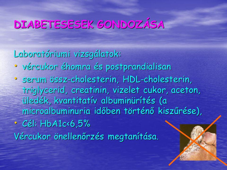 Hyperlipidaemia LDL koleszterin értékének kiszámítása: LDL koleszterin értékének kiszámítása: Friedewald képlet:=szérum koleszterin- (HDL-kol+TG/2,2) mmol/l A képlet 4,5 mmol/l triglicerid szintig alkalmazható Elérendő célértékek: Igen nagy kockázat Nagy kockázat Kardiovaszkuláris tünet nincs Össz-C<3,5<4,5<5,0 Össz-C<3,5<4,5<5,0 LDL-C<1,8<2,5<3,0 LDL-C<1,8<2,5<3,0 Triglicerid 1,0 (férfi), >1,3 (nő) Triglicerid 1,0 (férfi), >1,3 (nő) III.