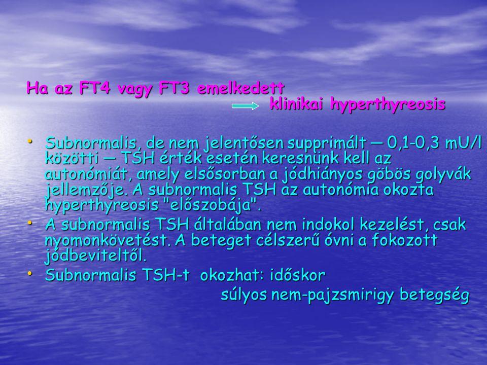 Emelkedett TSH hypothyreosis Normális FT4 esetén a hypothyreosis latens, alacsony FT4 esetén klinikai A T3 (FT3) a hypothyreosis diagnosztikájában nem alkalmazható, mert klinikai hypothyreosisban is lehet normális, és hypothyreosistól függetlenül is gyakran alacsony.