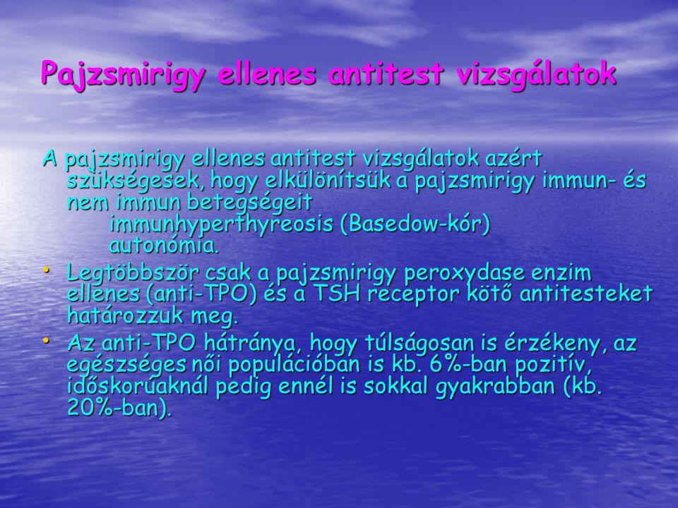 A HYPERTHYREOSISOK ÉS KEZELÉSÜK Metothyrin agranulocytosist okozhat, 1:1000gyakorisággal és az agranulocytosis eseteit 90%-ban a kezelés első három hónapjában észlelik Havonkénti, majd 3 havonta fvs.+májfunkció ellenőrzés Láz és torokfájás esetén a beteg azonnal forduljon orvosához és addig ne vegye be a Metothyrint.