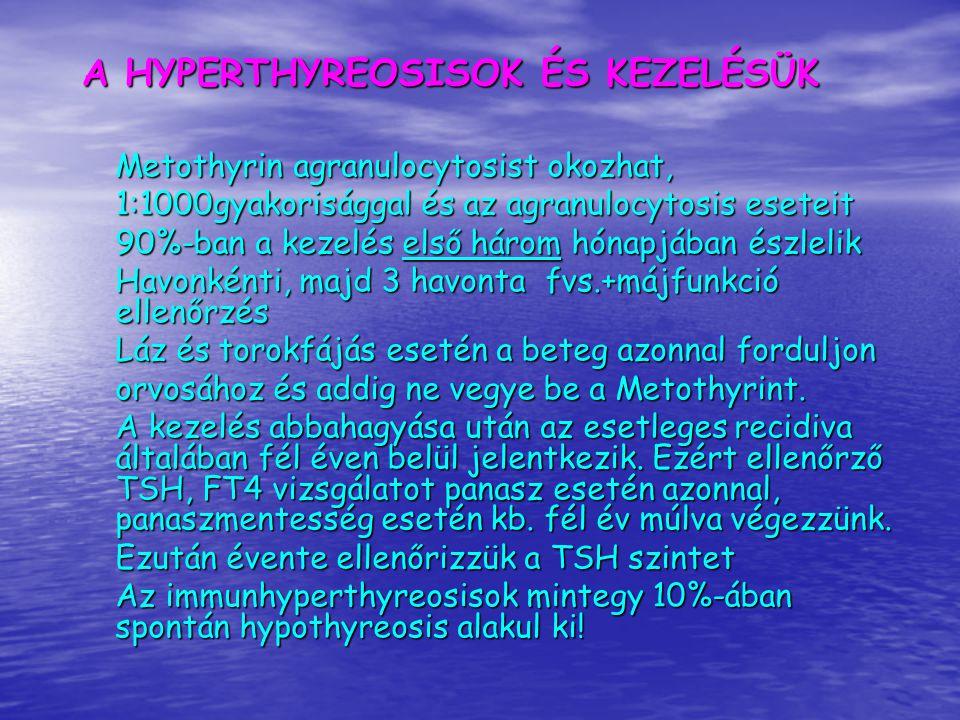 HYPOTHYREOSIS ÉS KEZELÉSE A hypothyreosis fő okai autoimmun thyreoiditis, postoperativ hypothyreosis A latens hypothyreosis tünetei hyperlipidaemia depressio csökkenti a myocardium contractilitását Az endocrinologusok többsége a latens hypothyreosist kezelendőnek tartja.