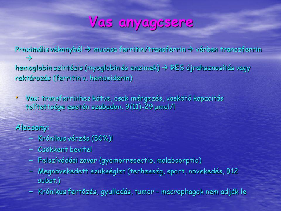 Vas anyagcsere Magas vas: – Cirrhosis, hepatitis – Haemochromatosis (vas, ferritin, tf saturatio ↑↑ ) – Nephrosis – Ólommérgezés (se ólom, protoporphyrin) – Leukaemia – Ineffektív hemopoesis – vasfelszívódás stimulálása (pl.
