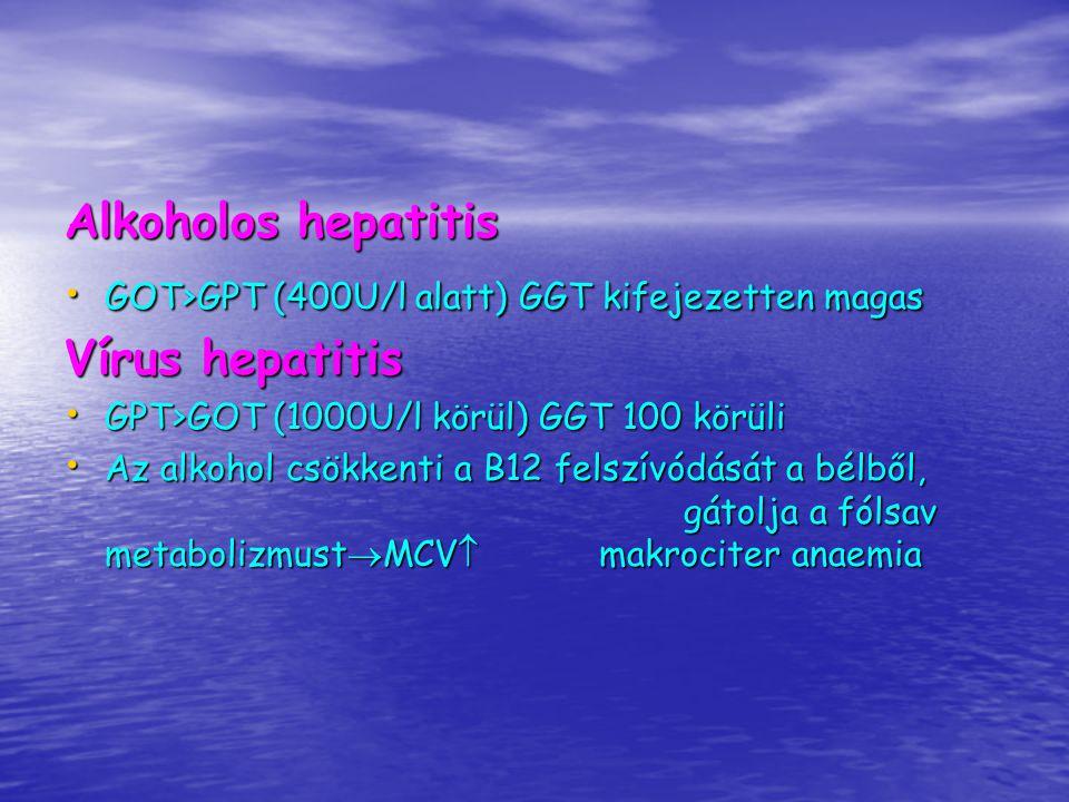 Icterus Obstrukciós icterus : Obstrukciós icterus : direkt hiperbilirubinémia direkt hiperbilirubinémia világos, agyagszerű (acholiás) széklet világos, agyagszerű (acholiás) széklet UBG nincs a vizeletben UBG nincs a vizeletben Bilirubinuria Bilirubinuria Hepatocelluláris laesio okozta icterus: Hepatocelluláris laesio okozta icterus: direkt hiperbilirubinémia direkt hiperbilirubinémia világos széklet világos széklet UBG a vizeletben rendszerint megnőtt, de a betegség tetőpontján azonban negatív is lehet UBG a vizeletben rendszerint megnőtt, de a betegség tetőpontján azonban negatív is lehet Bilirubinuria Bilirubinuria Haemolyticus icterus Haemolyticus icterus indirekt hiperbilirubinémia (ncB-albuminhoz kötve) indirekt hiperbilirubinémia (ncB-albuminhoz kötve) sötétebb (pleiochrom) széklet sötétebb (pleiochrom) széklet vizelet UBG megnövekedett vizelet UBG megnövekedett