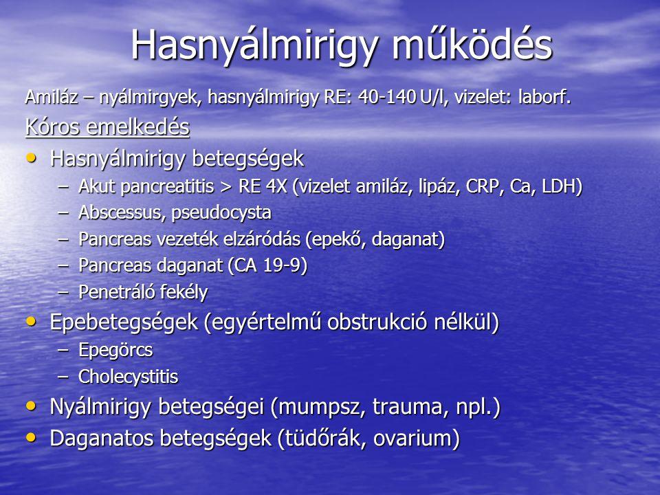 Hasnyálmirigy működés Egyéb (veseelégtelenség, macroamylasaemia, steroid kezelés, extrauterin graviditás, bélbetegségek, peritonitis, DKA) Egyéb (veseelégtelenség, macroamylasaemia, steroid kezelés, extrauterin graviditás, bélbetegségek, peritonitis, DKA) Kóros csökkenés –Panceas elégtelenség (idült pancreatitis, cc., CF) –Ecclampsia –Vesebetegség (polyuriával) –Thyreotoxicosis Lipáz emelkedés – specifikus Széklet emésztettség – nem elég szenzitív