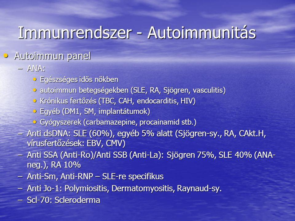 Immunrendszer - Autoimmunitás Antifoszfolipid antitestek (sejtmembrán, trombocytákon) Antifoszfolipid antitestek (sejtmembrán, trombocytákon) –Kardiolipin autoantitest – alacsonyabb tct szám, trombózis –Lupus antikoaguláns: trombózis, megnyúlt APTI!, direktben nem mutatható ki –beta2-glycoprotein I – specifikusabb, nem terjedt el –VDRL tesztben is van foszfolipid, tévesen hamis lehet Coeliakia panel Coeliakia panel –Gliadin AAT: Gabonafehérjében lévő glutén része, nem specifikus –Transzglutamináz AAT: bélbolyhokban ellene irányul az autoimmunitás, specifikus –Mindkét vizsgálat IgA-ra irányul, hiányában nem értékelhető