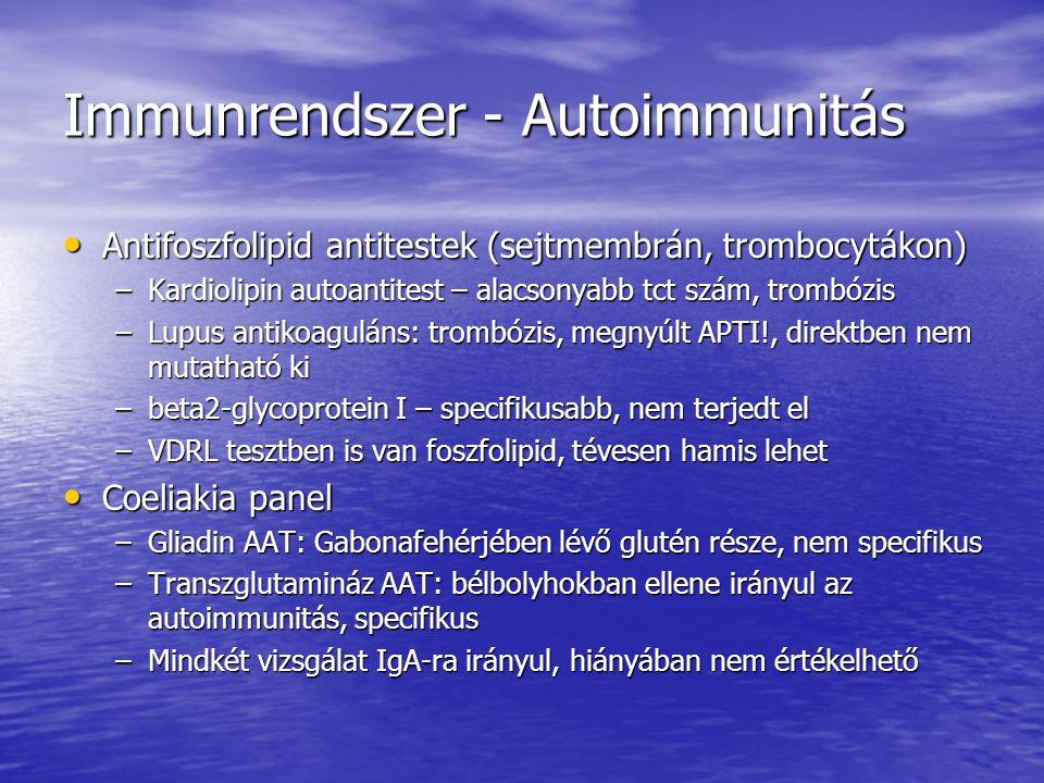 Tumor markerek AFP – terhesség, májrák (áttét), ovarium, testis tumor AFP – terhesség, májrák (áttét), ovarium, testis tumor HCG – terhesség, testis, ovarium és egyéb HCG – terhesség, testis, ovarium és egyéb CEA – colorectalis carcinoma (egyéb) CEA – colorectalis carcinoma (egyéb) PSA – prostata rák, hyperplasia (th követés, tu recidíva) PSA – prostata rák, hyperplasia (th követés, tu recidíva) Prostata spec.
