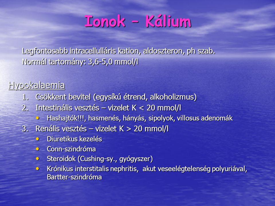 Ionok – Hypokalaemia 4.Egyéb okok Alkalózis (K áramlik a sejtekbe a H+ ionok helyére) Alkalózis (K áramlik a sejtekbe a H+ ionok helyére) Diabeteses kóma inzulinkezelése Inzulin és aldoszteron hatására a K+ a sejtekbe jut Diabeteses kóma inzulinkezelése Inzulin és aldoszteron hatására a K+ a sejtekbe jut Májcirrhosis Gátolt aldoszteron lebomlás, (hypalbuminaemia) Májcirrhosis Gátolt aldoszteron lebomlás, (hypalbuminaemia) Hyperlipoproteinaemia és hyperproteinaemia hamisan alacsony értéket adhat Hyperlipoproteinaemia és hyperproteinaemia hamisan alacsony értéket adhat Hypertonia hypokalaemiával (diuretikum nélkül): Conn-szindróma, veseartéria szűkület Hypertonia hypokalaemiával (diuretikum nélkül): Conn-szindróma, veseartéria szűkület