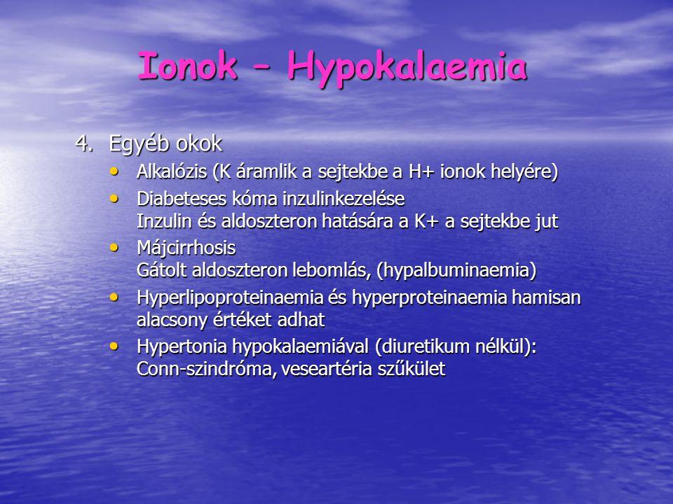 Ionok – Hyperkalaemia 1.Túlzott bevitel – károsodott vesefunkció esetén 2.Csökkent kiválasztás Akut / Krónikus veseelégtelenség Akut / Krónikus veseelégtelenség Addison-kór Addison-kór DM – hyporeninaemia, hypoaldosteronismus DM – hyporeninaemia, hypoaldosteronismus 3.Iatrogén ACEI, ARB, spironolacton, NSAID, amilorid, triampteren, digitálisz intoxikáció, cotrimoxasol, Cyclosporin-A, ACEI, ARB, spironolacton, NSAID, amilorid, triampteren, digitálisz intoxikáció, cotrimoxasol, Cyclosporin-A, 4.Sejtkárosodás Kiterjedt lágyrészsérülés, elkésett rekanalizáció, égés Kiterjedt lágyrészsérülés, elkésett rekanalizáció, égés Hemolízis Hemolízis Citosztatikus kezelés Citosztatikus kezelés
