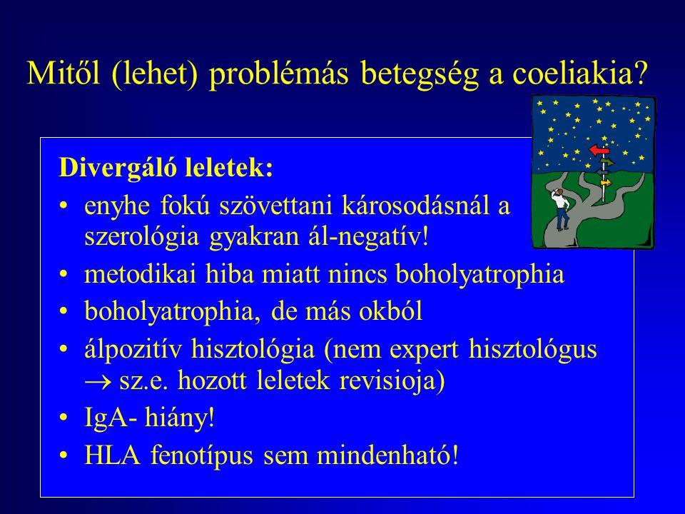 Mitől (lehet) problémás betegség a coeliakia? Nem gondolunk rá! Szűrni kell: 1. elsőfokú rokonokban (10x a kockázat!) 2. malabsorptio okát keresve 3.