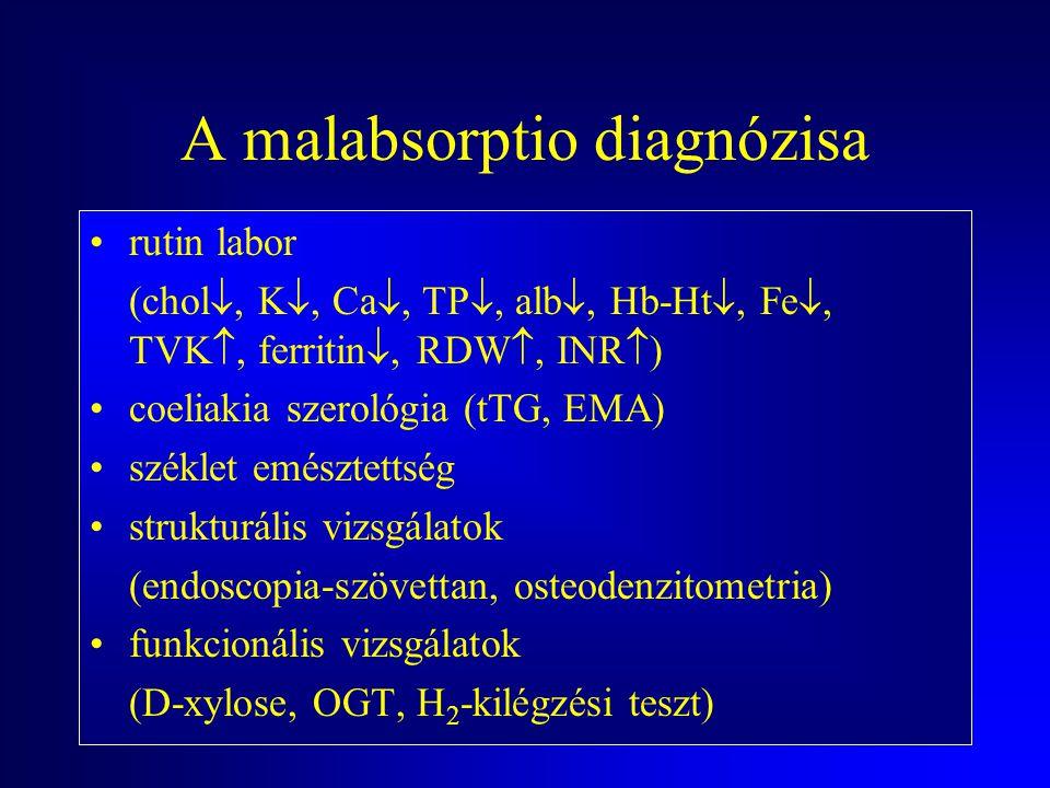 A malabsorptio tünetei TünetLaborZavarSzerv Steatorrhoea zsírszékletzsír felszívódáspancreas, vékonybél, máj, epe Gyengeség anaemiavas, fólsav, B 12 f