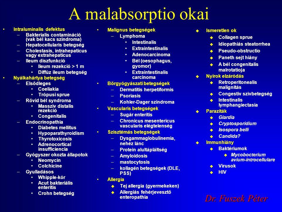 A malabsorptio diagnózisa rutin labor (chol , K , Ca , TP , alb , Hb-Ht , Fe , TVK , ferritin , RDW , INR  ) coeliakia szerológia (tTG, EMA
