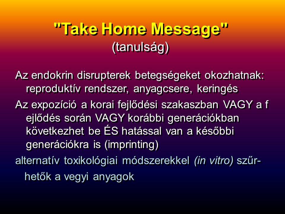 Take Home Message Az endokrin disrupterek betegségeket okozhatnak: reproduktív rendszer, anyagcsere, keringés Az expozíció a korai fejlődési szakaszban VAGY a f ejlődés során VAGY korábbi generációkban következhet be ÉS hatással van a későbbi generációkra is (imprinting) alternatív toxikológiai módszerekkel (in vitro) szűr- hetők a vegyi anyagok Az endokrin disrupterek betegségeket okozhatnak: reproduktív rendszer, anyagcsere, keringés Az expozíció a korai fejlődési szakaszban VAGY a f ejlődés során VAGY korábbi generációkban következhet be ÉS hatással van a későbbi generációkra is (imprinting) alternatív toxikológiai módszerekkel (in vitro) szűr- hetők a vegyi anyagok (tanulság)