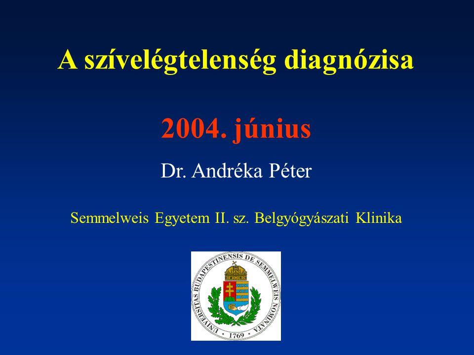 A szívelégtelenség diagnózisa 2004. június Dr. Andréka Péter Semmelweis Egyetem II. sz. Belgyógyászati Klinika