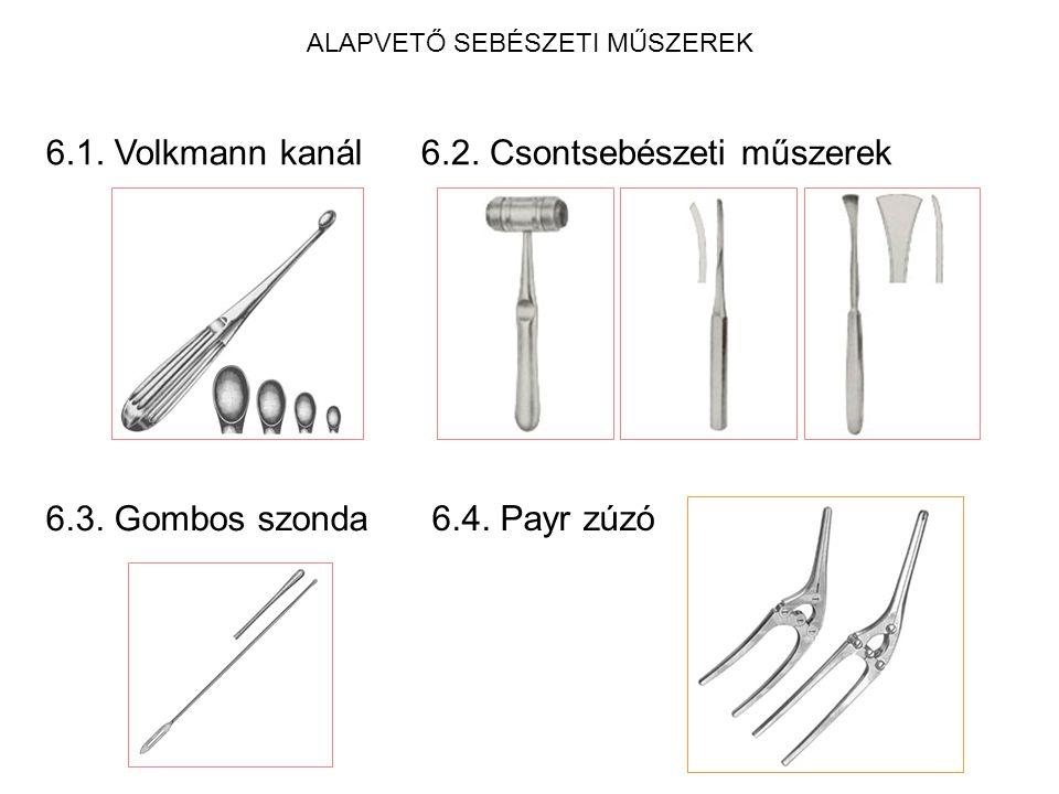 ALAPVETŐ SEBÉSZETI MŰSZEREK 6.1. Volkmann kanál6.2. Csontsebészeti műszerek 6.3. Gombos szonda 6.4. Payr zúzó