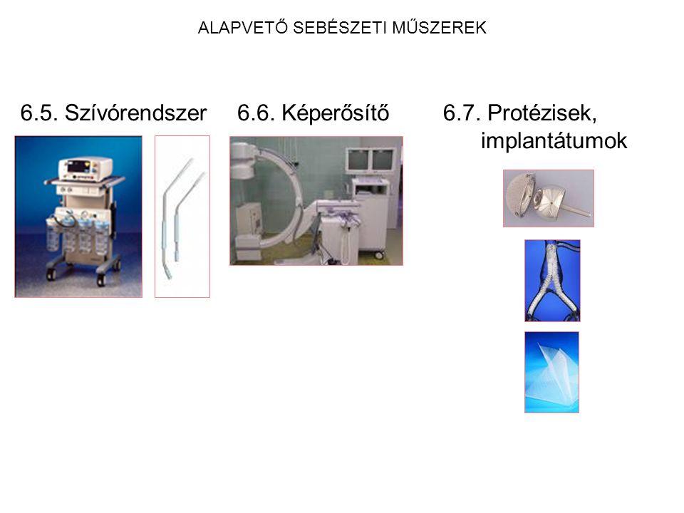 ALAPVETŐ SEBÉSZETI MŰSZEREK 6.5. Szívórendszer6.6. Képerősítő6.7. Protézisek, implantátumok
