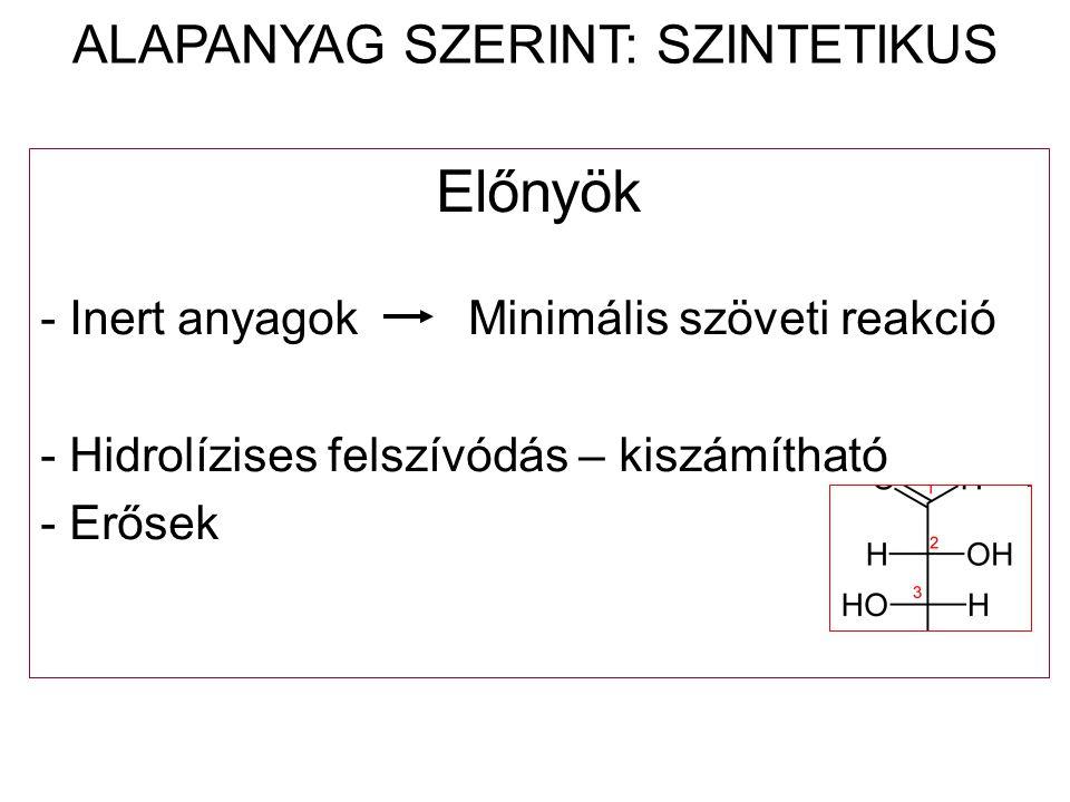 Előnyök - Inert anyagokMinimális szöveti reakció - Hidrolízises felszívódás – kiszámítható - Erősek ALAPANYAG SZERINT: SZINTETIKUS