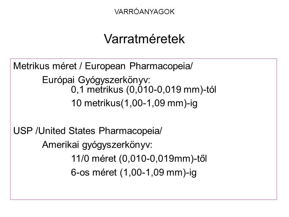 VARRÓANYAGOK Metrikus méret / European Pharmacopeia/ Európai Gyógyszerkönyv: 0,1 metrikus (0,010-0,019 mm)-tól 10 metrikus(1,00-1,09 mm)-ig USP /Unite