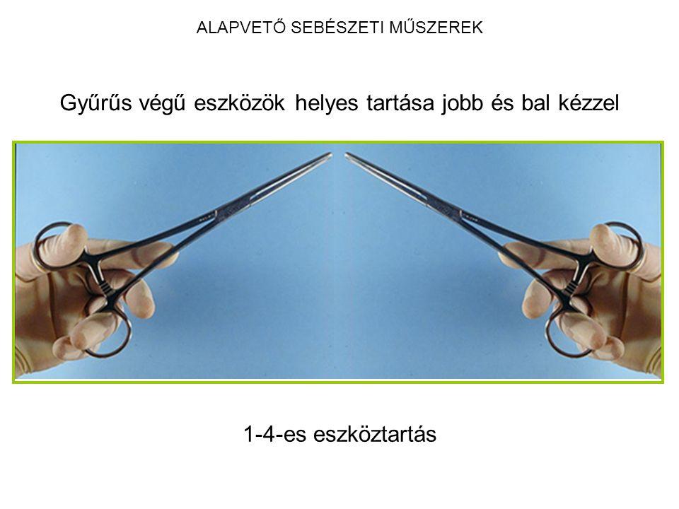 ALAPVETŐ SEBÉSZETI MŰSZEREK Gyűrűs végű eszközök helyes tartása jobb és bal kézzel 1-4-es eszköztartás