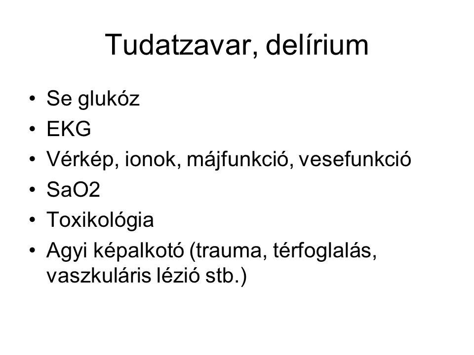 Tudatzavar, delírium Se glukóz EKG Vérkép, ionok, májfunkció, vesefunkció SaO2 Toxikológia Agyi képalkotó (trauma, térfoglalás, vaszkuláris lézió stb.