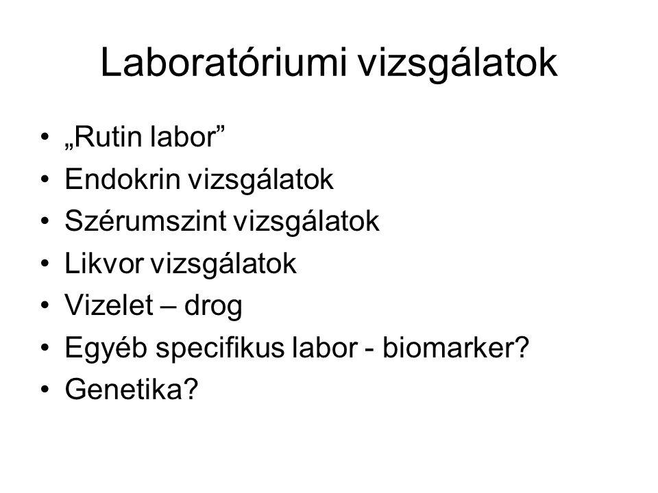 """Laboratóriumi vizsgálatok """"Rutin labor"""" Endokrin vizsgálatok Szérumszint vizsgálatok Likvor vizsgálatok Vizelet – drog Egyéb specifikus labor - biomar"""