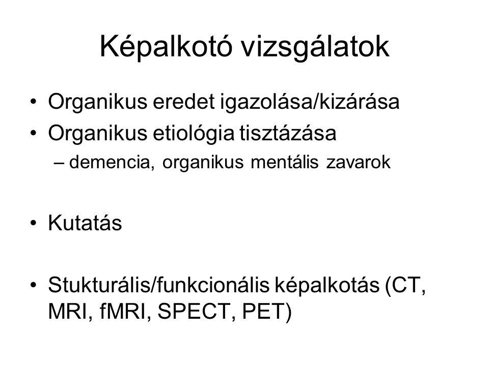 Képalkotó vizsgálatok Organikus eredet igazolása/kizárása Organikus etiológia tisztázása –demencia, organikus mentális zavarok Kutatás Stukturális/fun