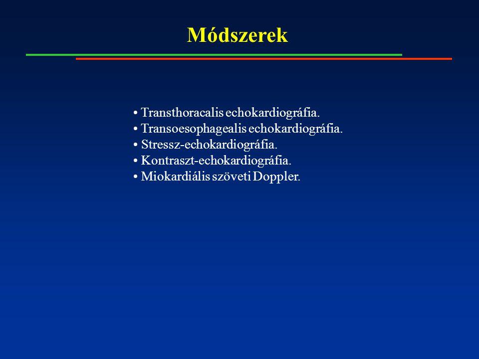 Módszerek Transthoracalis echokardiográfia. Transoesophagealis echokardiográfia. Stressz-echokardiográfia. Kontraszt-echokardiográfia. Miokardiális sz