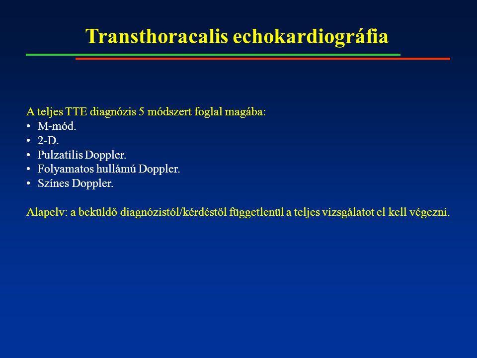 Transthoracalis echokardiográfia A teljes TTE diagnózis 5 módszert foglal magába: M-mód. 2-D. Pulzatilis Doppler. Folyamatos hullámú Doppler. Színes D