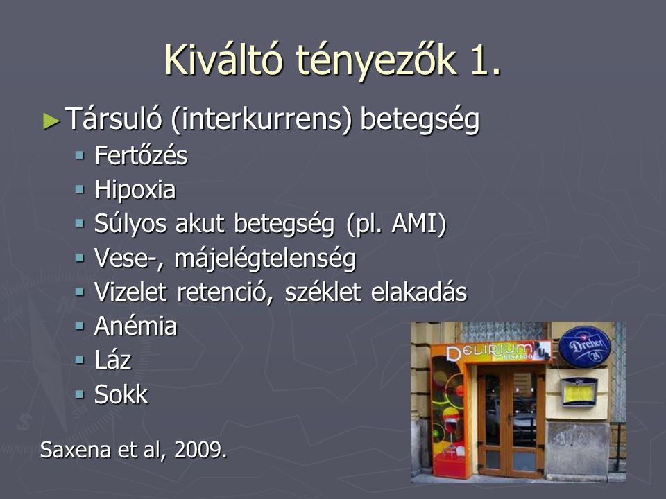 Kiváltó tényezők 1. ► Társuló (interkurrens) betegség  Fertőzés  Hipoxia  Súlyos akut betegség (pl. AMI)  Vese-, májelégtelenség  Vizelet retenci