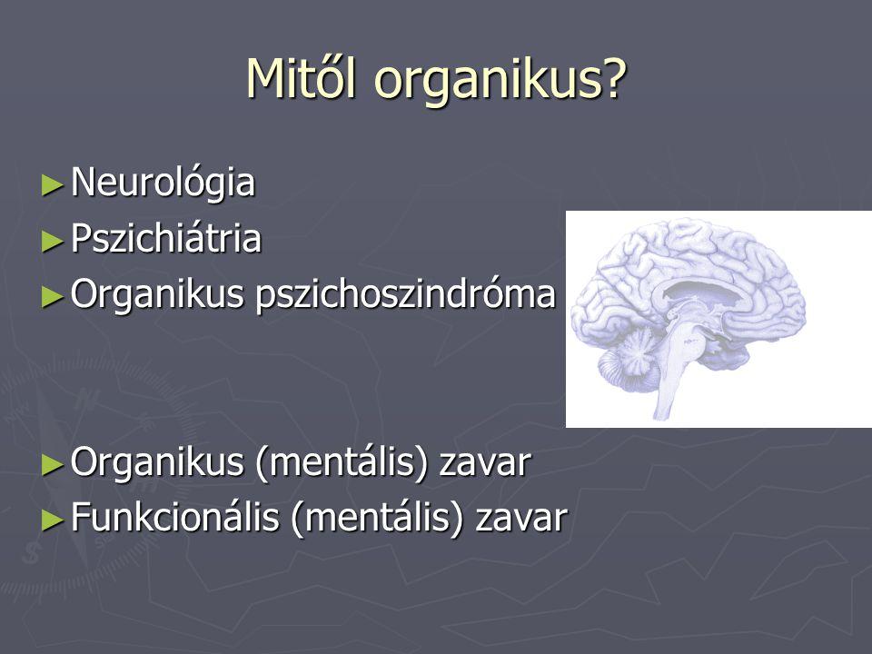 Mitől organikus? ► Neurológia ► Pszichiátria ► Organikus pszichoszindróma ► Organikus (mentális) zavar ► Funkcionális (mentális) zavar
