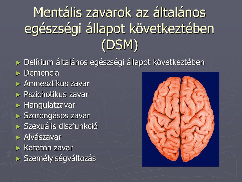 Mentális zavarok az általános egészségi állapot következtében (DSM) ► Delírium általános egészségi állapot következtében ► Demencia ► Amnesztikus zava