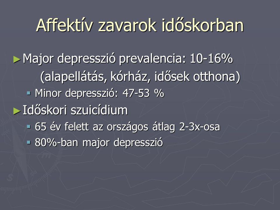 Affektív zavarok időskorban ► Major depresszió prevalencia: 10-16% (alapellátás, kórház, idősek otthona)  Minor depresszió: 47-53 % ► Időskori szuicí