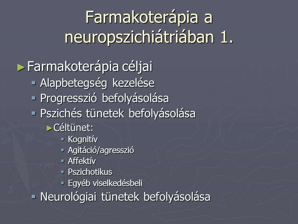 Farmakoterápia a neuropszichiátriában 1. ► Farmakoterápia céljai  Alapbetegség kezelése  Progresszió befolyásolása  Pszichés tünetek befolyásolása