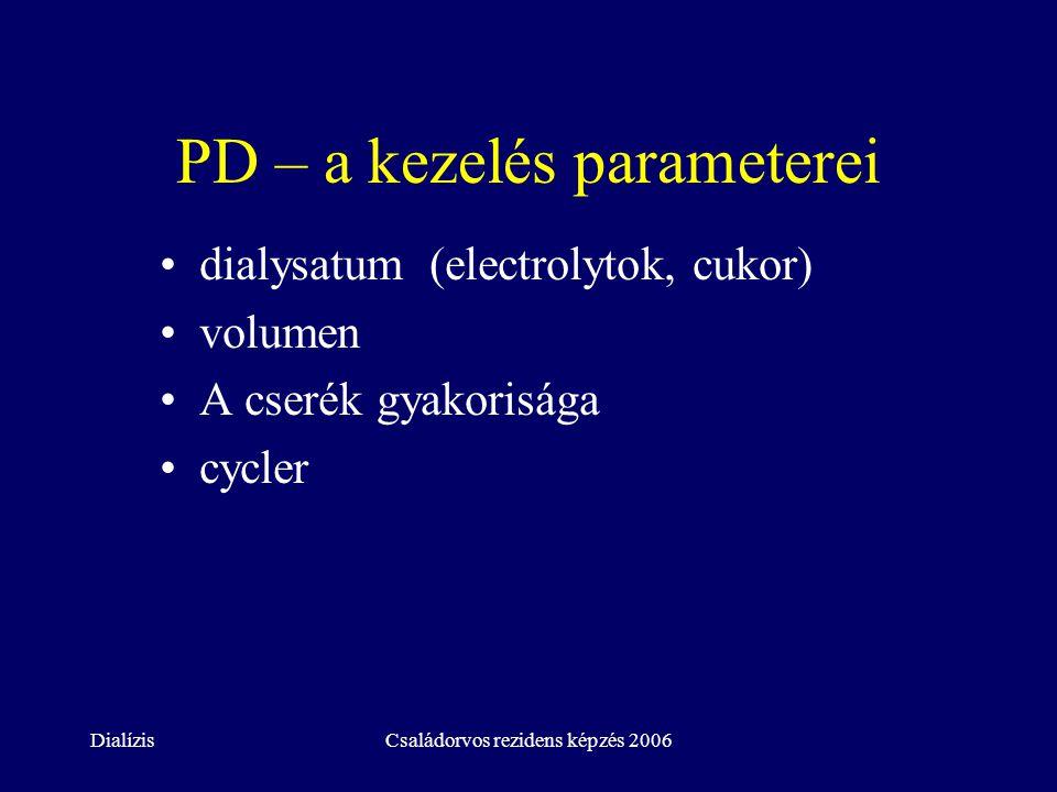 DialízisCsaládorvos rezidens képzés 2006 PD – a kezelés parameterei dialysatum (electrolytok, cukor) volumen A cserék gyakorisága cycler