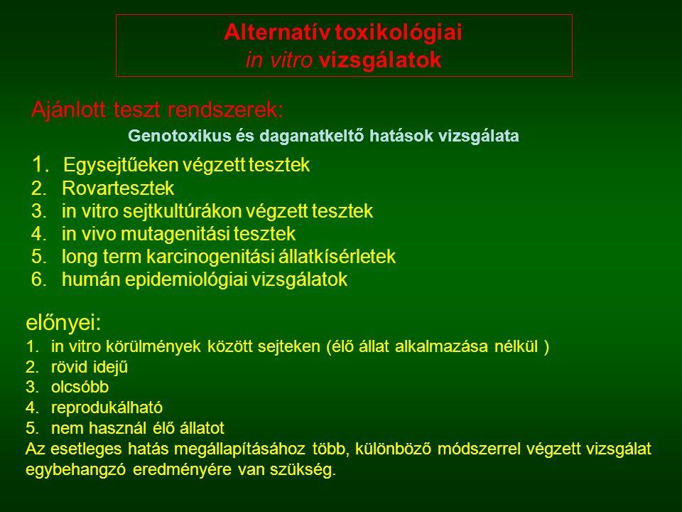 Alternatív toxikológiai in vitro vizsgálatok előnyei: 1.in vitro körülmények között sejteken (élő állat alkalmazása nélkül ) 2.rövid idejű 3.olcsóbb 4