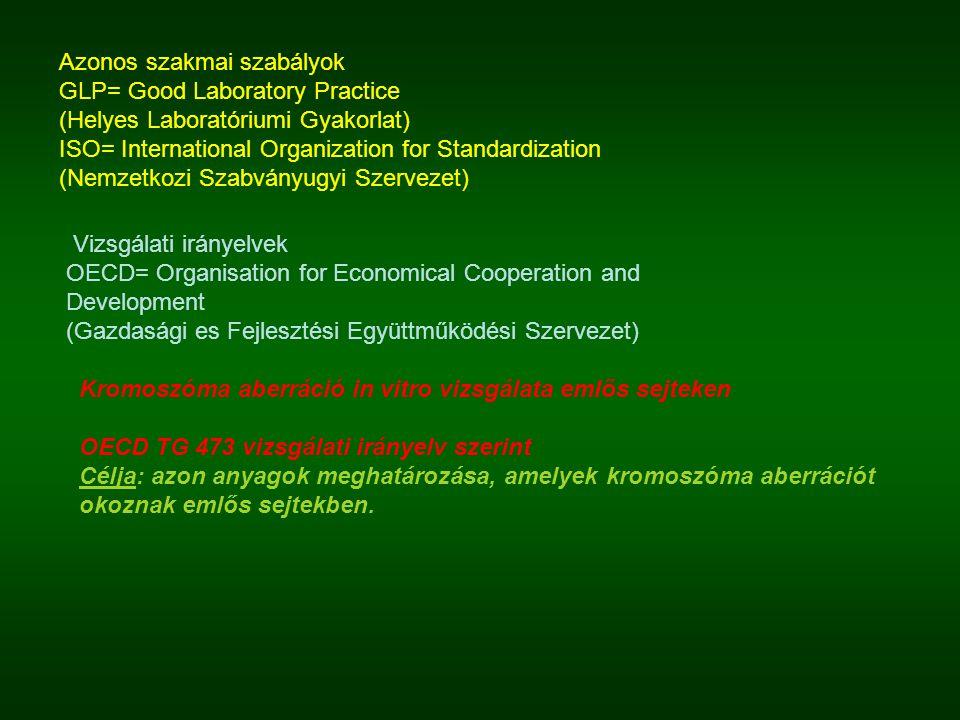 Azonos szakmai szabályok GLP= Good Laboratory Practice (Helyes Laboratóriumi Gyakorlat) ISO= International Organization for Standardization (Nemzetkoz