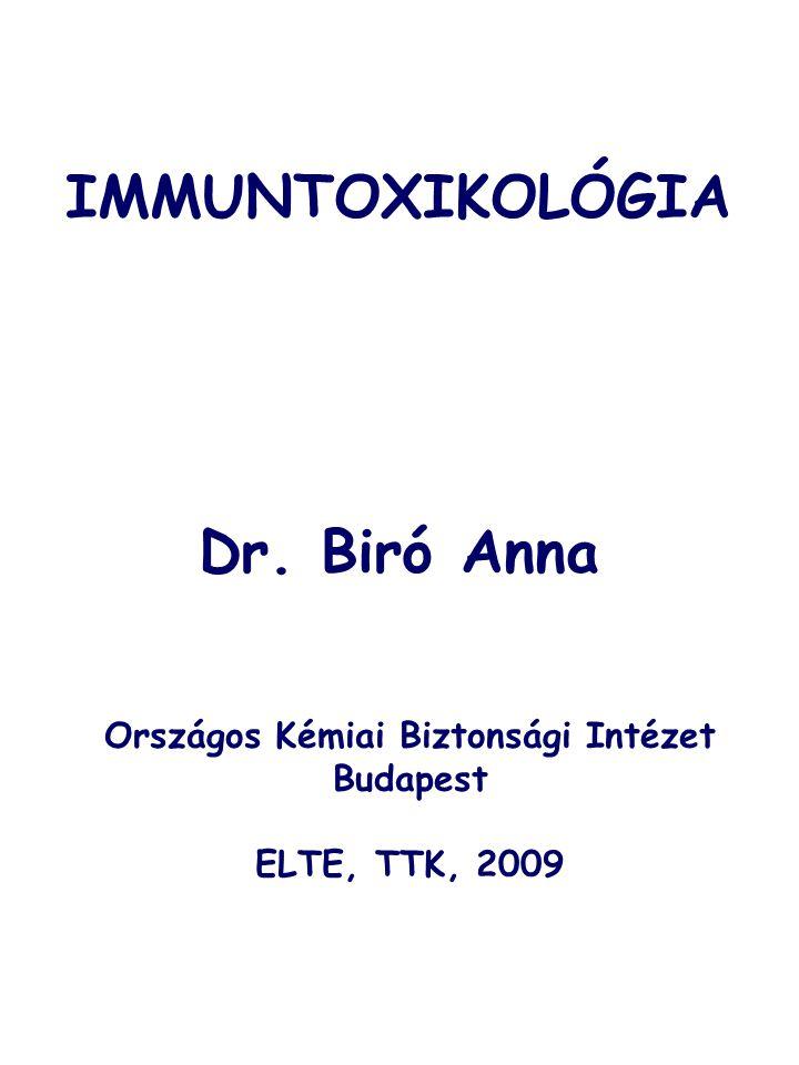 Toxikus vegyi anyagHatás Oldószerek  Benzol  Hexéndiol  Fehérvérsejtszám csökkenés, csökkent ellenanyag válasz, fokozott érzékenység TBC-re és tüdőgyulladásra  Hatására csökken a tímusz és lép nagysága, csökkent ellenanyag válasz Halogénezett szénhidrogének  2,3,7,8-tetrakloro- dibenzo-dioxin (TCDD)  Hexaklórbenzol  Poliklórozott bifenilek (PCB)  Timusz atrófia, csökkent sejtközvetített immunitás  Bőrelváltozások, arthritis  Csökkent ellenanyag válasz, csökkent szérum ellenanyag szint Policiklusos aromás szénhid- rogének (PAH)  pl.
