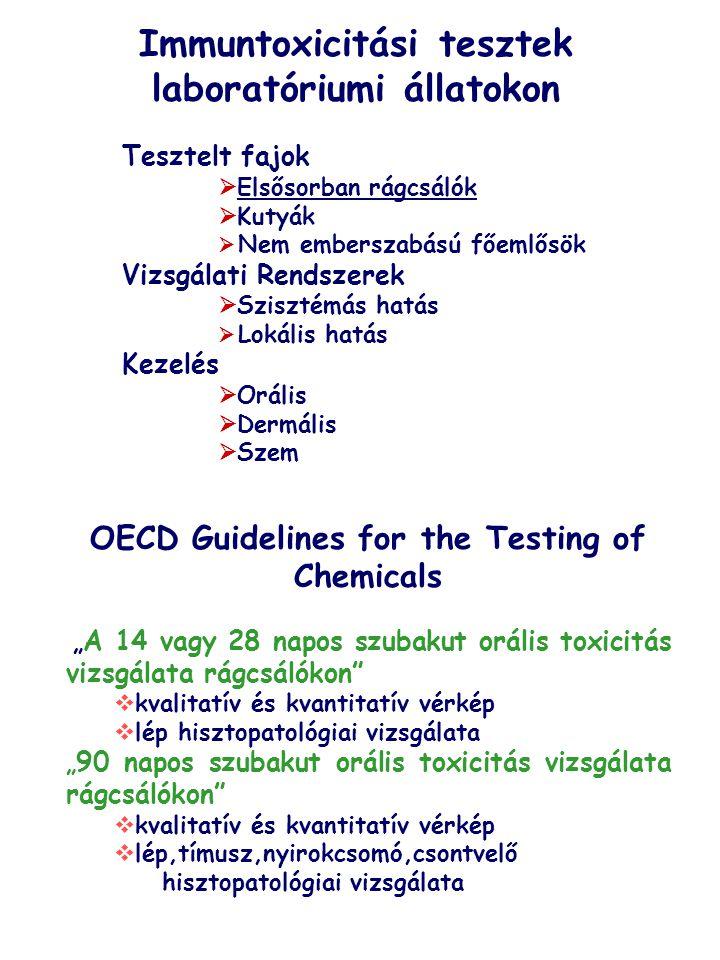 """Immuntoxicitási tesztek laboratóriumi állatokon OECD Guidelines for the Testing of Chemicals """" A 14 vagy 28 napos szubakut orális toxicitás vizsgálata"""