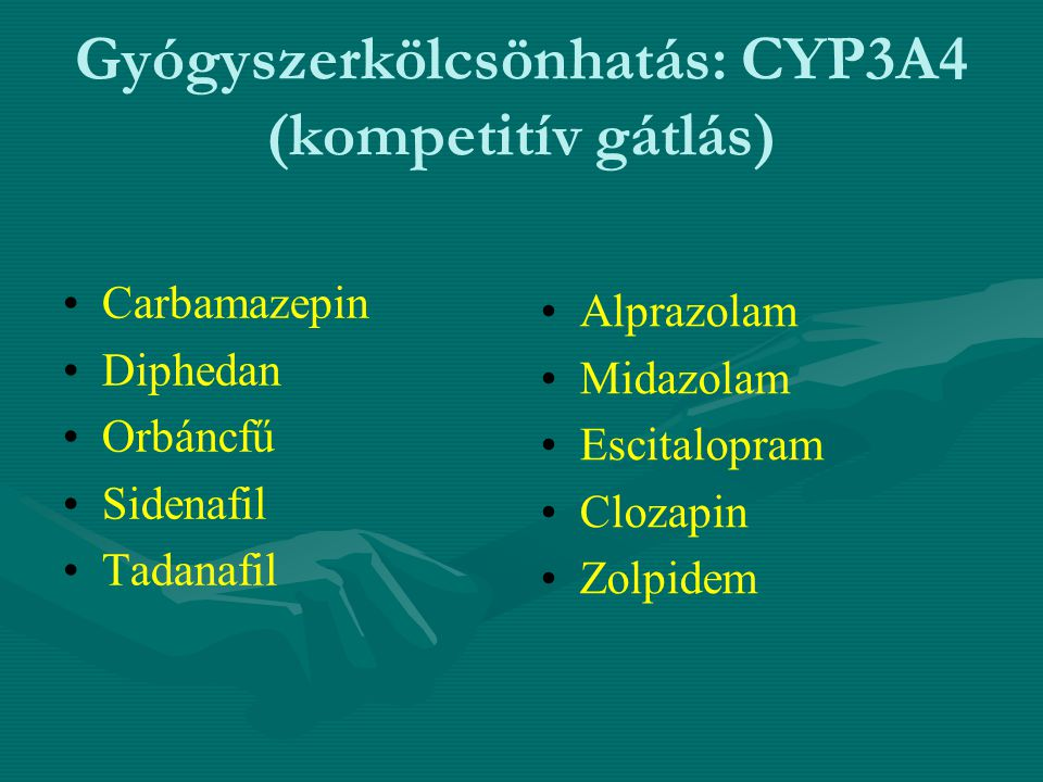 Gyógyszerkölcsönhatás: CYP3A4 (kompetitív gátlás) Carbamazepin Diphedan Orbáncfű Sidenafil Tadanafil Alprazolam Midazolam Escitalopram Clozapin Zolpid